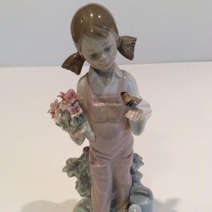 Lladro Four Seasons Spring -Girl w/ Flowers & Bird